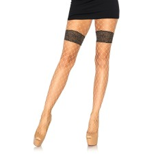 Diamond net tights with floral Nude