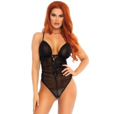 Sheer ruched lace up teddy Black