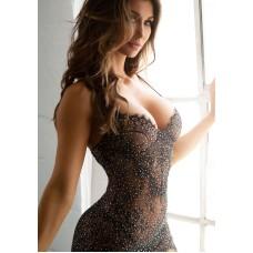 Backless mini dress and g-string Black