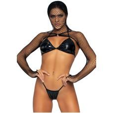 Bikini top, G-string & Shrug Black