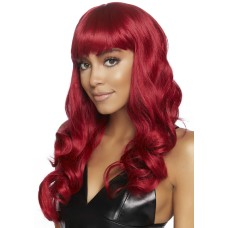 Long wavy wig with bangs Red