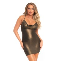 Shimmer slinky low cowl dress Gold
