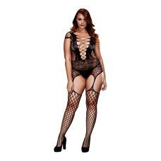 Baci - Corset Front Suspender Fishnet Bodysuit Queen Size