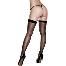 Baci - Sheer Thigh Highs With Backseam With Banded Silicone Stay-Up One Siz