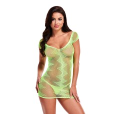 Lapdance - Jacquard Mini Dress Neon Green