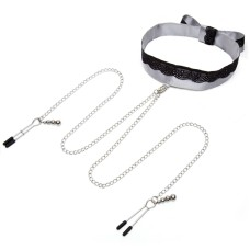 Fifty Shades of Grey - Play Nice Satin & Lace Collar & Nipple Clamps